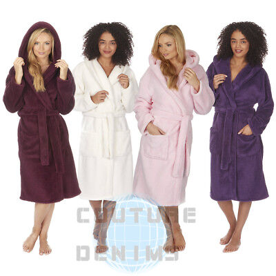 Ladies Soft Snuggle Fleece Hooded Dressing Gown Robe Nightwear Warm Plus Size