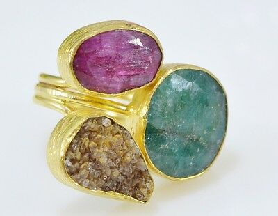 Ottoman Gems semi precious gem stone ring gold plated Emerald Druzy Ruby