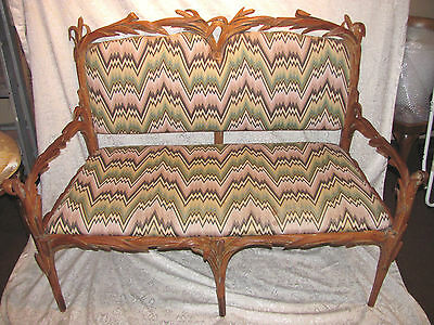 Rare Pair Antique Art Nouveau Settee's Late 19th Century
