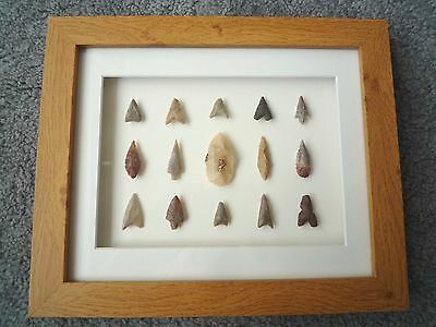 Neolithic Arrowheads in 3D Picture Frame, Authentic Artifacts 4000BC (Z084)