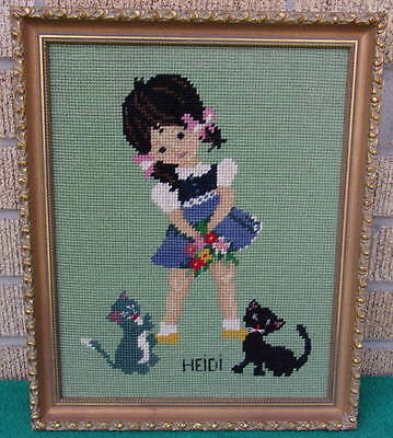 Rare Clean Vintage Professionally Framed Cross Stitch Wall Art Heidi & Cats