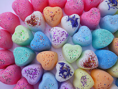 100 Lush Smelling Mini Heart Bath Bombs Fizzy Limited Time SALE Only £12.99