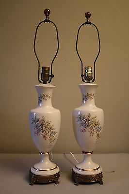Pair of Beautiful Vintage Ivory Colored Lamps with Pastel Flower Arrangements