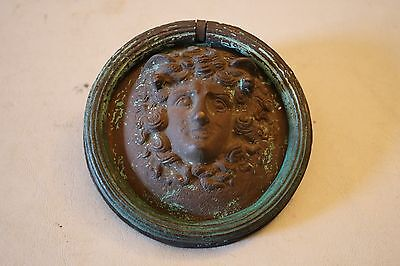 Vintage Brass Greek Mythological Man Door Head Knocker