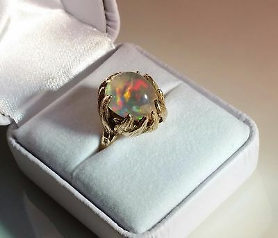 Vinatge  Hand Crafted 14K Gold Jelly Opal Ring  Chunky 10.5 Carat Ornate setting