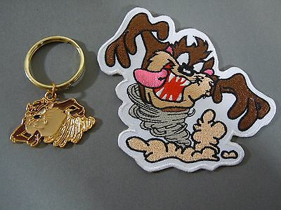 TAZ - Tasmanian Devil - Whirlwind Looney Tunes Keychain and Iron On Patch Combo