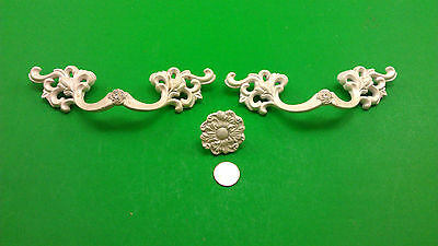 2 Oblong & 1 Round Antique Vintage White Dresser Drawer Handles