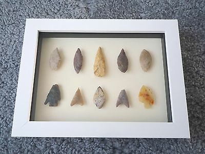 Neolithic Arrowheads in 3D Picture Frame, Authentic Artifacts 4000BC (0170)