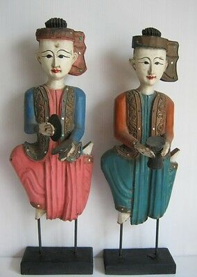 Antique wood carved ancient musician players