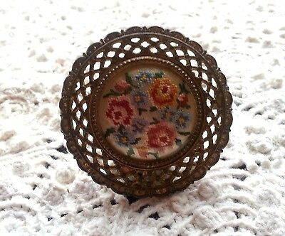 Large Embroidered Antique Hardware DrawerPull Circa 1908 Handstitched Embroidery
