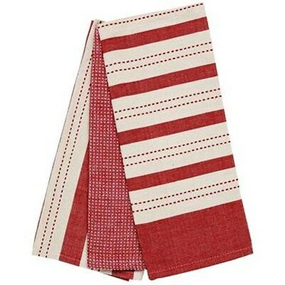 New Ladelle Butcher Stripe 3 Pack Tea Towel Red