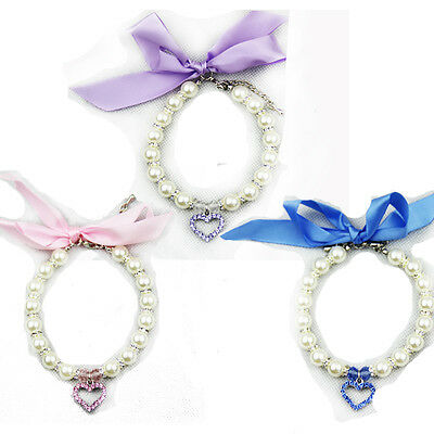 Pearl & Crystal Stretchy Necklace Dog Or Cat Collar with a bow~3 Sizes 3 Colours