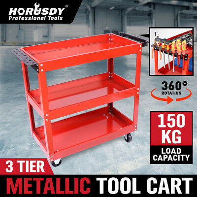 Heavy Duty Tool Cart Trolley 3 Tier Mechanic Handyman 150KG Warehouse Industrial