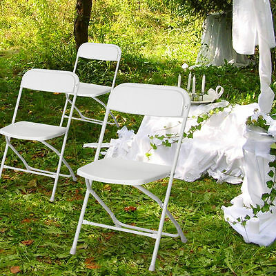 8pcs White Commercial Folding Plastic Chairs Stackable Wedding Party Meet Chair