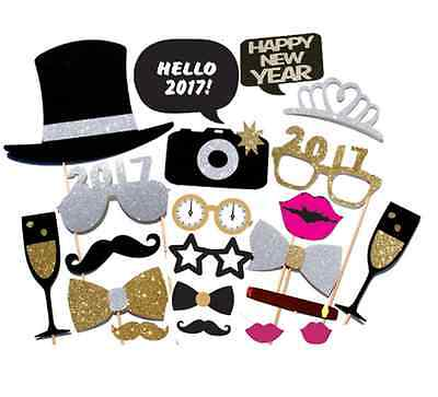 2017 New Year's Eve Party Photo Booth Props Mustache Glasses Bow Photography