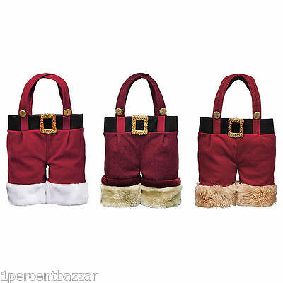 Santa Clause Pants Two Bottle Wine Bag Carrier Tote, 3-pack - Xmas Christmas