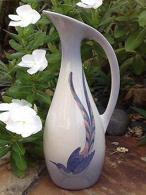 """Royal Jubilee Holland Pitcher Blue Bird Pottery Hand Painted Delft Blue 8.5"""" Vtg"""