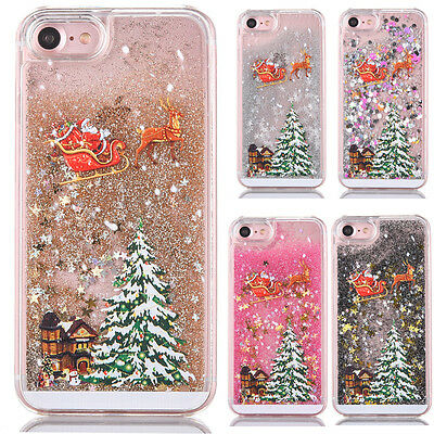 Christmas Glitter Quicksand 3D Dynamic Case Xmas Cover For iPhone Samsung Phones