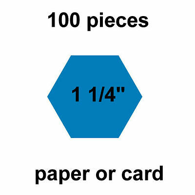 1 1/4  inch Hexagons - 100 per pack - Paper or Card - English Paper Piecing