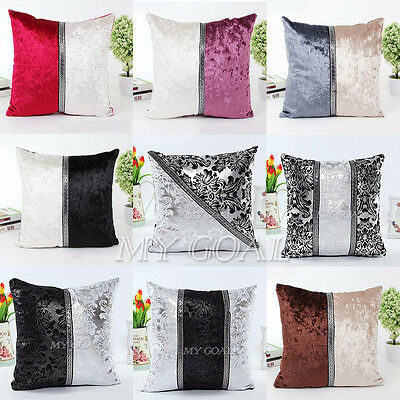 Vintage Thick Black White Splice Sequins Throw Pillow Case Cushion Cover 18*18