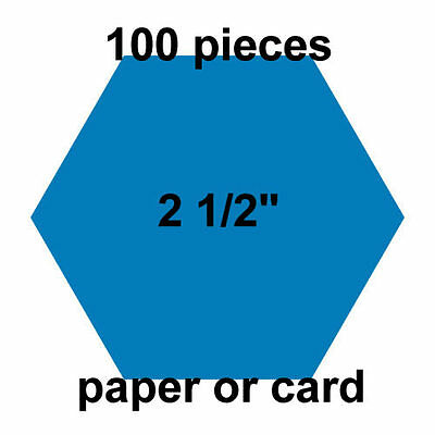 2  1/2 inch Hexagons - 100 per pack - Paper or Card - English Paper Piecing