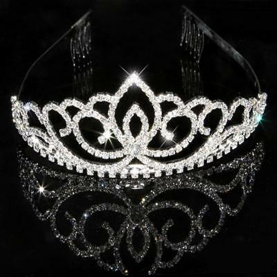 Wedding Pageant Crystal Crown Headband Tiara Hair Clip Pin Party Headpiece