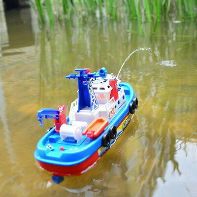 Marine Rescue Ship Kids Toy Music Light Boat Model Electric Vessel Water Spray