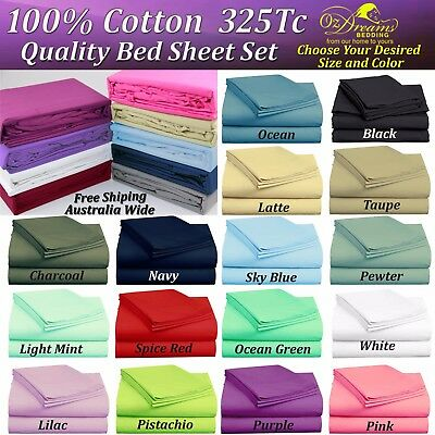 New 100% Pure Cotton Queen & King Size Plain Dyed 4Pcs Bed Sheet Set - Free Post