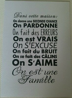 Art print Grande carte A5 ( 14,8 cm x21 cm) Citation Maison Famille