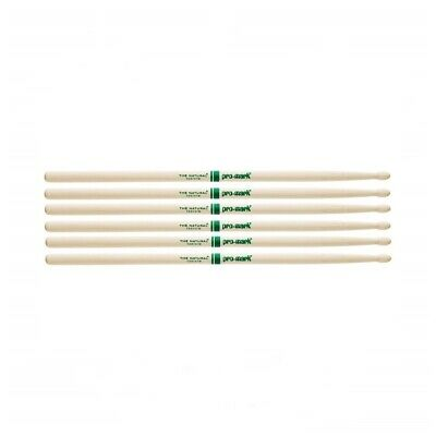 Promark The Natural American Hickory Wood Tip 5B - TXR5BW Drum Sticks 3 Pairs