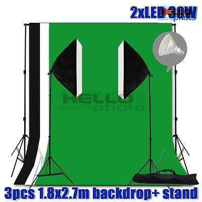Photo Studio Softbox LED Lighting Soft Box Light Video Muslin Backdrop Stand Kit