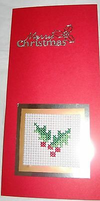 Christmas Card Completed Cross Stitch Holly