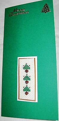 Christmas Card Completed Cross Stitch Trees