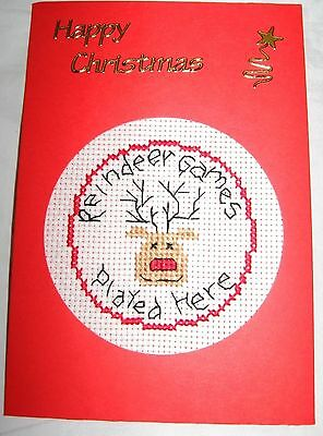 Christmas Card Completed Cross Stitch Reindeer Games