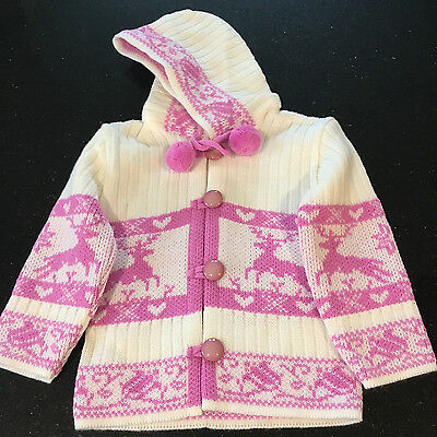 Toddler Girls Knit Hoodie 2-3 Years Pink Cardigan Sweater Jumper Winter Clothes
