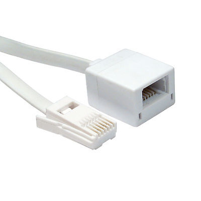 3m BT Telephone Extension Cable Fully Wired 6 Pin Male to Female Lead White