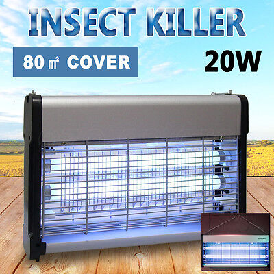 20W Aluminium Alloy UV Mosquito Bug Zapper Fly Pest Insect Killer Lamp Electric