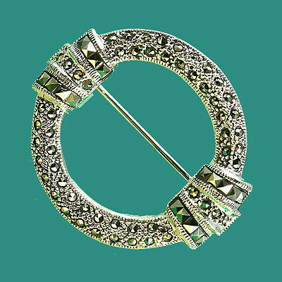 Striking Classical Circular Design Sterling Silver Marcasite Brooch Pin