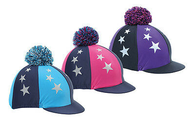 NEW Shires Fluffy Pom Pom Riding Hat Cover / Silk With Stars - Pink Purple Blue