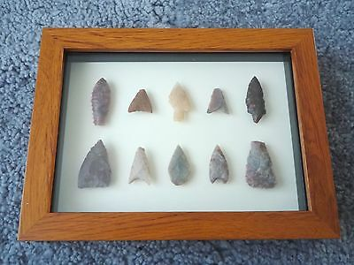 Neolithic Arrowheads in 3D Picture Frame, Authentic Artifacts 4000BC (0453)