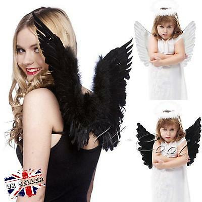 UK Large Adult Kid Feather Angel Fairy Wings Party Fancy Dress Costume Accessory