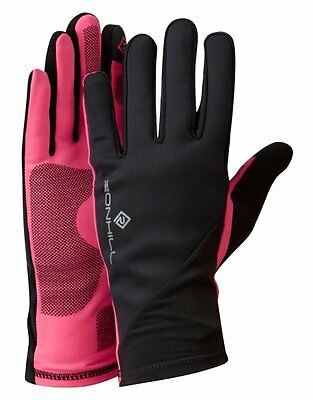 Ronhill Outdoor Wear Sirocco Gloves Running Windproof - Black/Fluo Pink **SALE**
