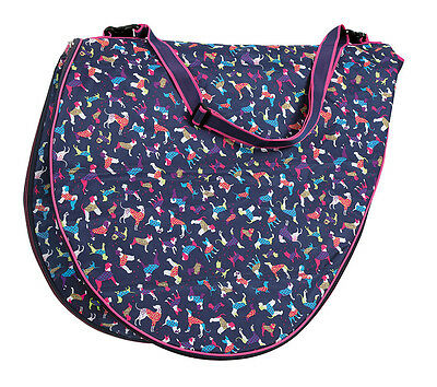 NEW Shires Dog Print Padded Saddle Bag Protective Cover With Strap Up To 17.5""