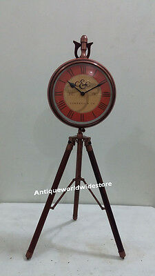 Vintage Nautical Clock On Tripod Desk Table CopperClock with Red leather Clock