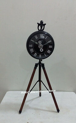 Classical Clock On Tripod Desk Table Copper Clock with Powder coated Clock