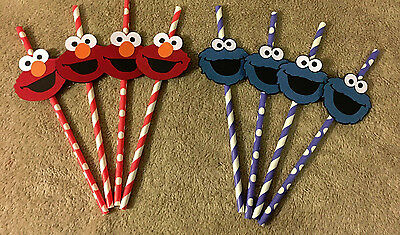 Sesame Street Cookie Monster or Elmo straws. Set of 12 Great for Birthday Party