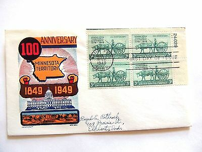 "March 3rd, 1949 Territorial Centennial Plate Block ""Minnesota"" 1st Day Issue,."