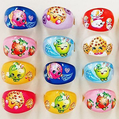 3x Kids Girl Children Shopkins Rings Christmas Birthday Party favor Gift