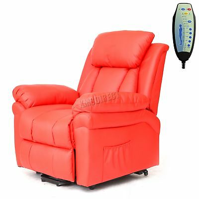 Faux Leather Massage Rise Recliner Mobility Tilt Lift Arm Chair Heat 11 Red