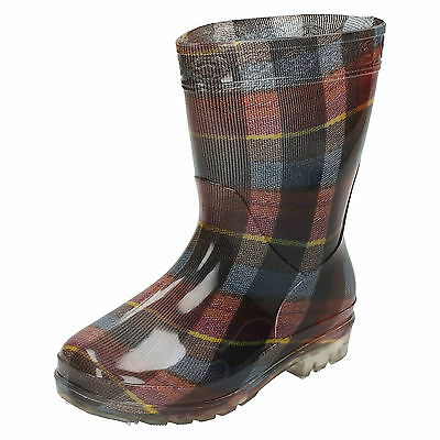 WHOLESALE Children's Tartan Print Wellingtons / Sizes 12x3 / 16 Pairs / X1188